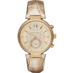 Michael Kors Women's Sawyer Gold-Tone and Leather Watch