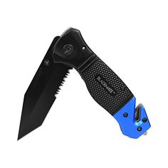 "BladeMate Tactical Folding Knife: Survival Rescue Pocket Knife with 3.5"" Stainless Steel Tanto Blade, Seat Belt Cutter, and Glass Breaker (Blue). For product & price info go to:  https://all4hiking.com/products/blademate-tactical-folding-knife-survival-rescue-pocket-knife-with-3-5-stainless-steel-tanto-blade-seat-belt-cutter-and-glass-breaker-blue/"