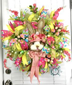 Deco Mesh Easter Bunny Wreath - Spring Bunny Wreath - Easter Eggs - Easter…