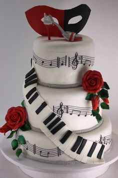 A very very cool music cake, I also love that its just white,black and red. That cool Mask on top and of course the shoe makes this a perfect cake, I'd call this a twist on The Phantom of the Opera cake. Gorgeous Cakes, Pretty Cakes, Cute Cakes, Amazing Cakes, Music Themed Cakes, Music Cakes, Piano Cakes, Fondant Cakes, Cupcake Cakes