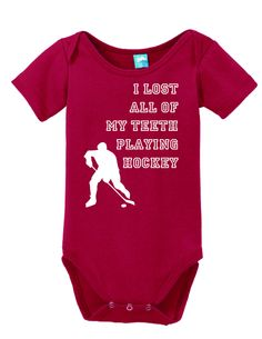 I Lost All Of My Teeth Playing Hockey Onesie Funny Bodysuit Baby Romper Gray 0-3 Month LOLOnesies.com