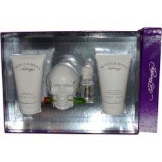 Ed Hardy Skulls & Roses Eau De Parfum Spray 3.4 oz & Body Lotion 4.2 oz & Shower Gel 4.2 oz & Eau De Parfum Spray .25 oz Mini by Christian Audigier