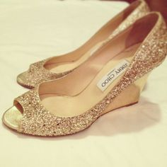 A great idea for a wedding shoe!! Wedges