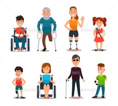 Buy Disability People by tartila on GraphicRiver. Cartoon sick and disabled characters. Person in wheelchair, injured woman, elderly man and happy g. Hospital Anime, Kid Character, Character Design, Bookmarks Diy Kids, Erin Gray, Powerpoint Slide Designs, Elderly Man, Disabled People, Graphic Design Posters