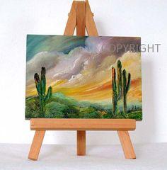 Arizona Cactus árboles original pintura al óleo 3 por valdasfineart
