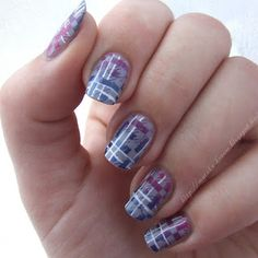 stamped nail blue purple white
