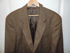 Ralph Lauren Polo 100% Wool Designer Brown Plaid Blue Label Blazer 42R Mint    #RalphLauren #TwoButton
