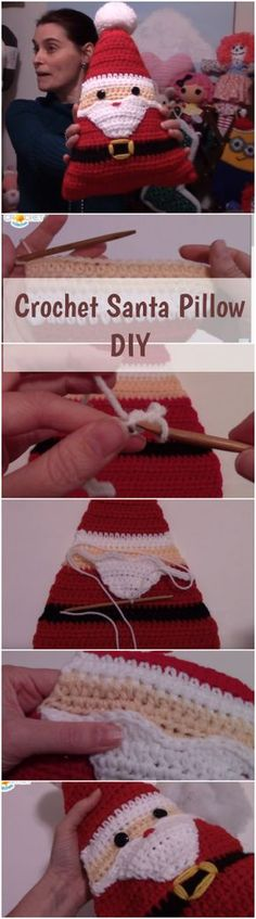 Crochet DIY Santa Pillow - Free Christmas Tutorial For Beginners + Video : Croc. Crochet DIY Santa Pillow – Free Christmas Tutorial For Beginners + Video : Crochet Santa Pillow Crochet Diy, Crochet Stitches Free, Crochet Santa, Holiday Crochet, Crochet Pillow, Crochet Gifts, Simple Crochet, Beginner Crochet, Amigurumi