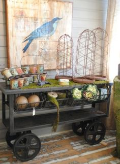 Metal cart becomes an interesting buffet / storage piece