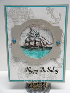Masculine Card with Open Seas stamp set SU The Open Sea, Bring Out The Cake-sentiment, Deco Labels Collection and Circles Collection framelts Masculine Birthday Cards, Birthday Cards For Men, Masculine Cards, Male Birthday, Boy Cards, Cute Cards, Men's Cards, Nautical Cards, Stamping Up Cards