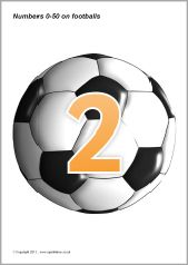 Numbers 0-50 on footballs (SB208) - SparkleBox