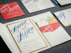 Coral and Navy Wedding Invitations Script by JulieHananDesign