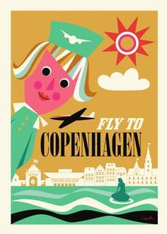 Make an easy impression on your walls. This Fly To Copenhagen Print is new for 2014 but is inspired by mid century travel posters. It's the perfect mix of graphics, colour palette and post war hope for modern lifestyle and opportunity. Designed by Swedish illustrator Ingela Arrhenius for Omm Design.