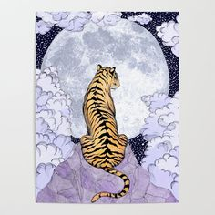 """""""Tiger Moon"""" by ECMazur // Shop link in bio Hanging Tapestry, Wall Tapestry, Tiger Art, Tiger Drawing, Moon Art, Canvas Prints, Art Prints, Shops, Poster"""
