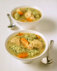Chicken Soup with Parsley Dumplings:  In a hearty soup, parsley dumplings speckle the broth with bits of green.