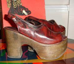 6afd55170f3e Rare Pristine Carber Italy Vintage 1970 s Wood PLATFORM Sandal Shoes DISCO  size 8 Leather Hippie Boho