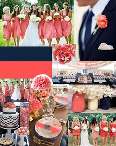 Coral and Navy and I want to add yellow. CAN NOT WAIT for our wedding!!
