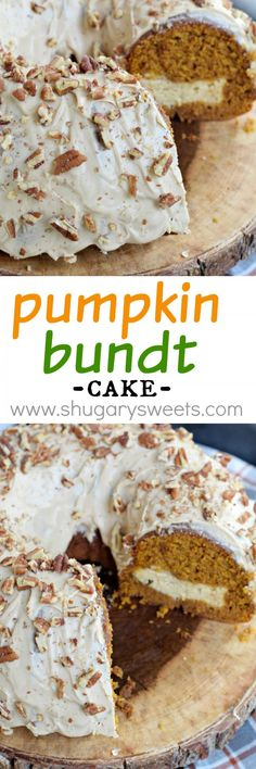 This stunning Pumpkin Bundt Cake has a cheesecake filling and a maple pecan glaze! Fantastic flavor and easy to make too!