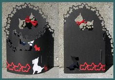 Scotty Dog Bendy Card Studio Ready on Craftsuprint designed by Judith Henry - This is a card that has a gate fold with a tab to create a bendy card. It can be laid flat for mailing (Envelope/box not included). Use it for a centerpiece or table place cards.The zip file contains assembly instructions, photo of completed project and the studio cutting file. - Now available for download!