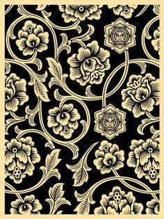 Black Flower Vine Screen Print ~ Obey Giant, Shepard Fairey