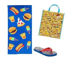 $29.95 Kids #Emoji #FlipFlops Beach Towel & Emoticon Carry bag #Emojipals #FlipFlops #FreeShipping