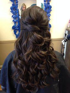 hair loose waves curls half up half down wedding hair prom hair asian hair brunette hair twist