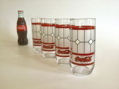 1999 Vintage Collectible Winter Trees Red Cardinal Coca Cola Glass Indiana Glass