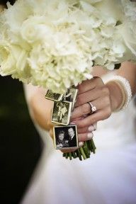mini pictures on wedding bouquet