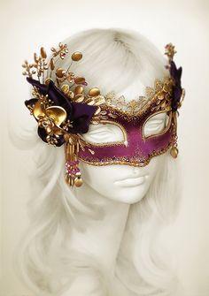Purple & Gold Masquerade Mask With Gold Embellishments - Purple Venetian Mask - Gold Flower Masquerade Ball Mask