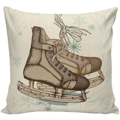 Christmas Pillow Cushion Ice Skates Gift Cotton and Burlap Pillow... ($35) ❤ liked on Polyvore featuring home, home decor, throw pillows, decorative pillows, home & living, home décor, silver, black toss pillows, winter throw pillows and cotton throw pillows