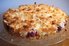 Peach and blackberry macaroon tart