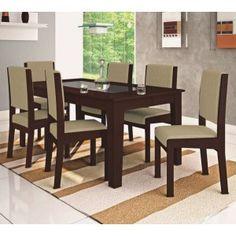 Conjunto de Jantar Onix c/ Vidro 6 Cadeiras - RV Móveis Mesa ÔNIX: - Tampo em MDF 20 mm - Vidro 5 mm - 100% MDF - Sapata anti-umidade  Cadeiras ÔNIX: - 100% MDF - Encosto e Assento Almofadado (Chenile) - Sapata anti-umidade  R$1.489,90  ou 10x de R$148,99 ou R$1.340,91 no Boleto ou Bankline (10% desconto)