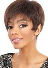 Elegant Straight Brown Remy Human Hair Lace Front Wig