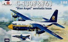 Lockheed C-130J Hercules and F-4J Phantom, Blue Angels aerobatic team. A Model, 1/144, injection, No.1425. Price: 24,29 GBP.