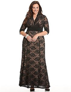 Screen siren lace gown by Kiyonna greets every occasion with red carpet confidence in stunning stretch lace and feminine details. Curve-loving fit & flare silhouette shines a spotlight where you want it most, featuring a shirred knit sash to define the waist, and scalloped trim at surplice neckline and sheer elbow length sleeves. Fully lined.  lanebryant.com