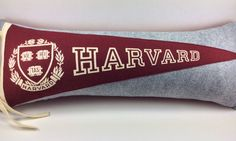 This vintage Harvard pennant is extremely handsome on a heathered gray felt with matching crimson felt back. College pennant pillows for your home or office.