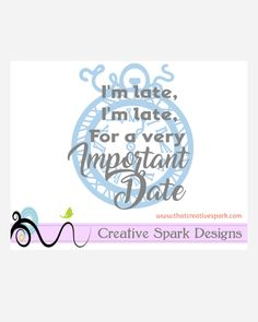 I'm Late Crazy Clock Silhouette SVG Image for die cutting, vinyl, decal, iron-on, wall art, scrapbook, clip art, digital designs, embroidery by CreativeSparkDesigns on Etsy
