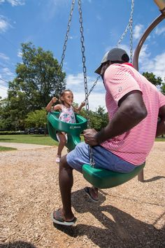 """Parents, grandparents, and older children can now swing face-to-face with a toddler, and join in on the fun! The only thing that tops an exhilarating, wind-in-your-hair swing ride, is sharing the experience with a child. Whether you're looking for a commercial """"Mommy and Me"""" swing, """"Grandpa and Me"""" swing, or fun time for any other loved one, the Generation Swing can be enjoyed by all ages. Swing Seat, Oldest Child, How To Level Ground, Mommy And Me, Cool Things To Make, Playground, Good Times, Children, Kids"""