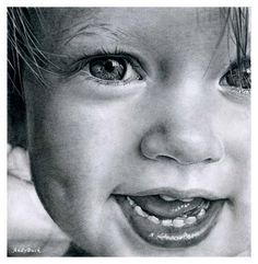 This is a pencil drawing by Andy Buck. Love!!  My son could do this extremely well but won't do it for me!   I'm going to get the paper pencils and three photos of my kids when they were babies and tell him that's what I want for xmas!