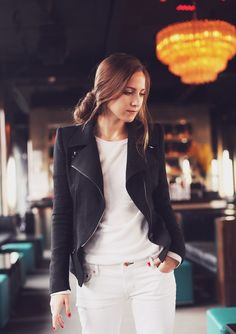 All White Outfit with Black Moto Jacket