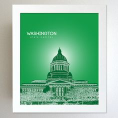 Washington Skyline State Capitol Landmark - Modern Gift Decor Art Poster 8x10    This is an 8x10 print of any State Capitol skyline you choose.