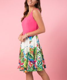 This Pink & Green Floral Shift Dress is perfect! #zulilyfinds