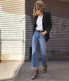 spring fashion, easy every day style, leopard booties, denim look, blazer with white tee and denim. Mode Outfits, Jean Outfits, Winter Outfits, Casual Outfits, Fashion Outfits, Jeans Fashion, Womens Jeans Outfits, Blazer Outfits Fall, Fashion Trends