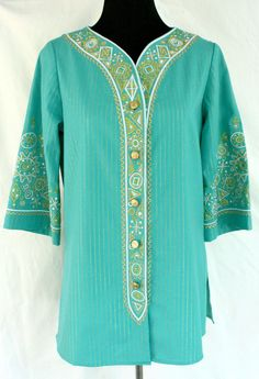 Get it at Bad Reputation! Bob Mackie #WearableArt #Aqua & Gold Embroidered Tunic Top - XS, Blue Green  #BobMackie #Tunic #Embroidery #DesignerClothes #Fashion #Colorful
