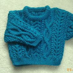 PDF knitting pattern for aran cable sweater for baby by PurplePup
