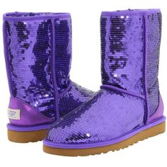 Ugg Classic Sparkles ($170) ❤ liked on Polyvore featuring shoes, boots, ankle booties, uggs, purple, ankle boots, women, patent leather ankle boots, purple boots and low heel boots