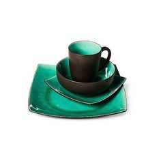Set the mood for your meals with the Square Stoneware Dinnerware Set in Elemental Jade from Threshold. This set of jade dinnerware incorporates a dark ...  sc 1 st  Pinterest & Look at this #zulilyfind! Green u0026 Brown Haus 16-Piece Dinnerware Set ...