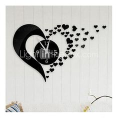 Wall Clock Stickers Wall Decals, Fashion 3D Heart Mirror Acrylic Wall Stickers de 2016 ? €5.87