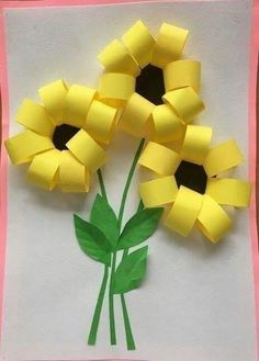 Gorgeous folded paper sunflower craft that makes a perfect summer kids craft, fun flower crafts for kids and paper crafts for kids. Spring Crafts For Kids, Paper Crafts For Kids, Summer Crafts, Fun Crafts, Art For Kids, Diy And Crafts, Arts And Crafts, Summer Art, Creative Crafts