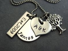 Personalized charm necklace hand stamped by ajscustomjewelry